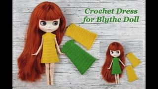 Gorgeous dress for Blythe Doll. A crochet dress for Blythe Doll. A summer dress for Blythe Doll
