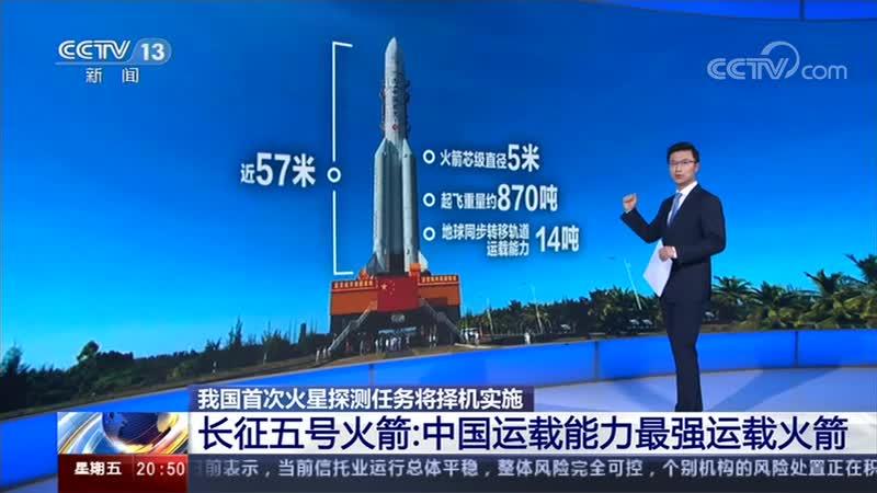 东方时空 我国首次火星探测任务将择机实施 长征五号火箭:CCTV 13