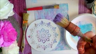 Используем  трафарет в декоративной живописи акриловыми красками.