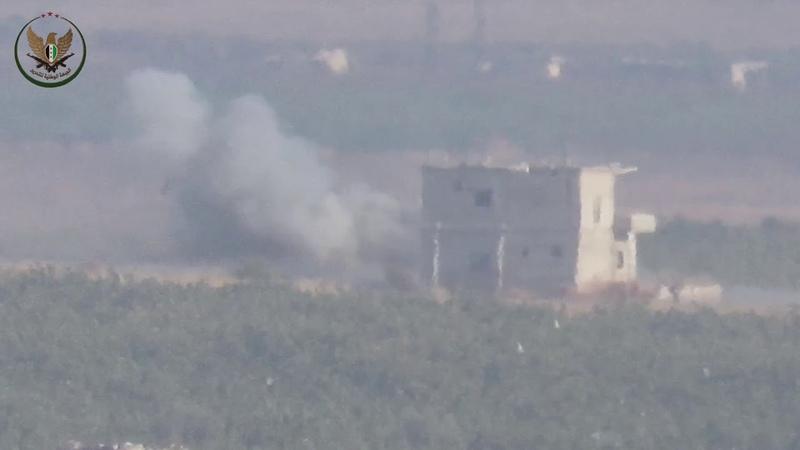 11 08 19 НФО выстрелом из ПТРК из того же места уничтожили второй танк САА неподалеку от первого на фронте Скейк