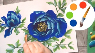 How to paint The Blue Peony by a  flat brush