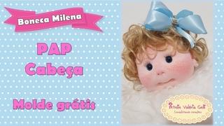 passo a passo boneca de pano Milena - montagem da cabeça -linda boneca de pano