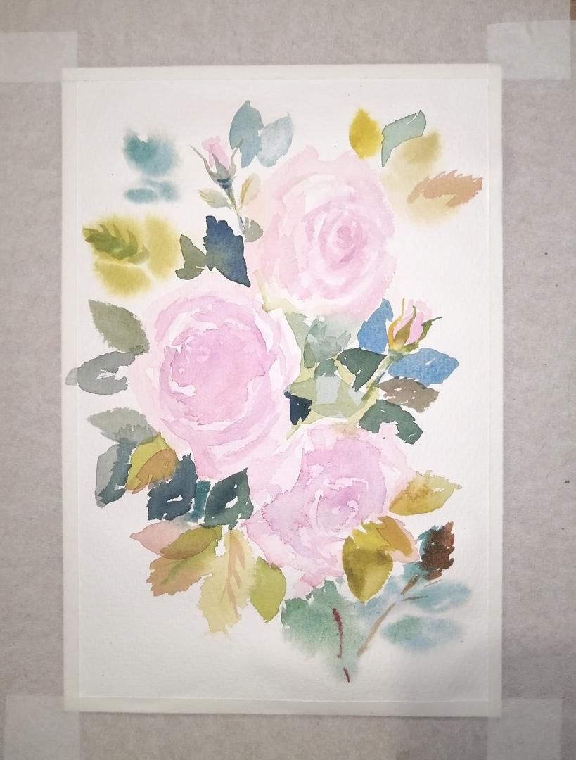 ОНЛАЙН-УРОК по рисованию «Дикая роза», изображение №9