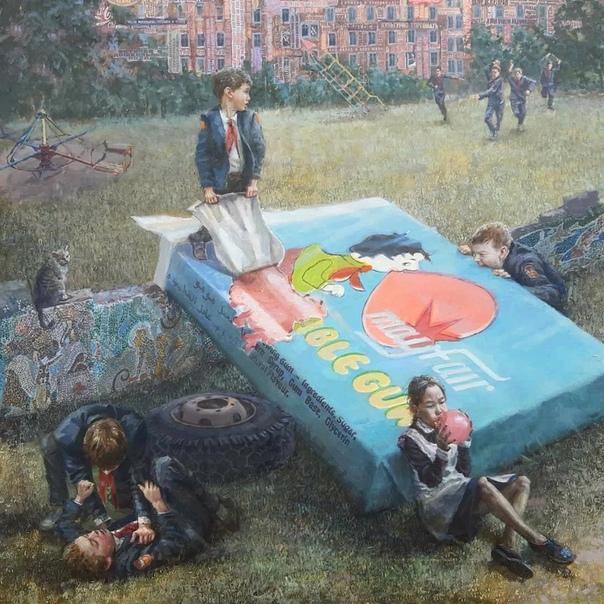 Филосовствующий художник Андрей Шатилов. В своих работах Андрей затрагивает острые проблемы современности и мастерски соединяет их с академическими приемами живописи, что в итоге рождает новый