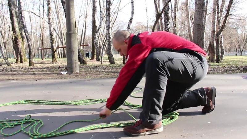 Изготовление мягких носилок из основной веревки