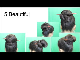 5 awesome hairstyles by using hair stick _ bun hairstyles for medium or long hair. .