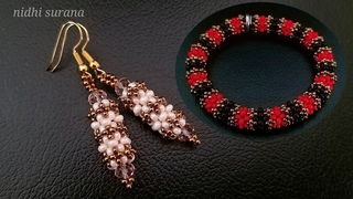 ⚜️ Gorgeous Bangle Bracelet/ Earrings ||How to make Seed bead Bangle || Aretes Tutorial Diy (418)
