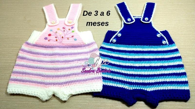 Macacão Curto de Crochê para Bebês de 3 a 6 meses