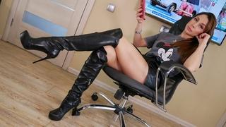 Catherina`s GIANMARCO LORENZI EU37 US7 platform stilettos black leather over the knee boots