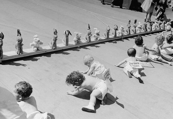 Гонки карапузов «Гонки карапузов» были очень популярными в 1940-х годах в США. Сами участники, конечно, вряд ли понимали, что вообще происходит, зато взрослые зрители были вне себя от умиления