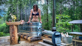 TIMELAPSE - DIY Wood Fired Hippie HOT TUB & CHINESE WOK STOVE - Start to Finish