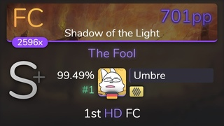 [Live] Umbre   Aether Realm - The Fool [Shadow of the Light] 1st +HD FC % {#1 701pp FC} - osu!
