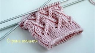 Узоры спицами. Узор «Елочка» для вязания по кругу. Herringbone pattern for knitting in a circle.
