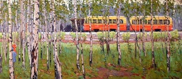 ВЕРНИСАЖ  Иван Афанасьевич Кучма (1930-2007) 'Остановка трамвая'. Холст, масло.