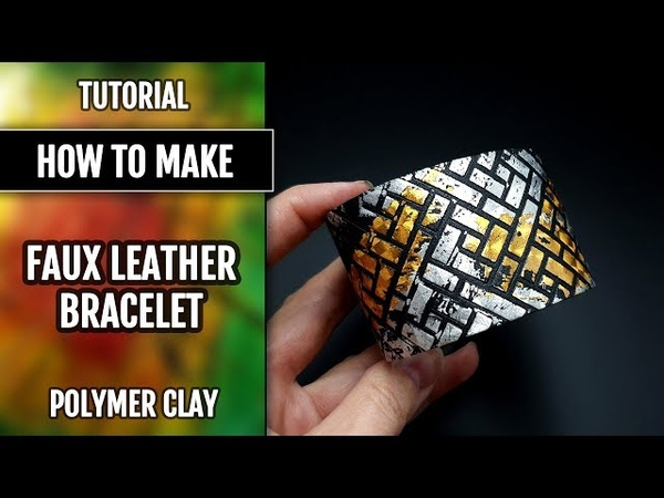 DIY How to make: Simple Faux Leather Bracelet from polymer clay Fimo Leather Effect