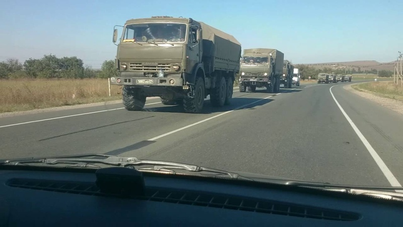 Военая колона.дорога Симферополь Феодосия