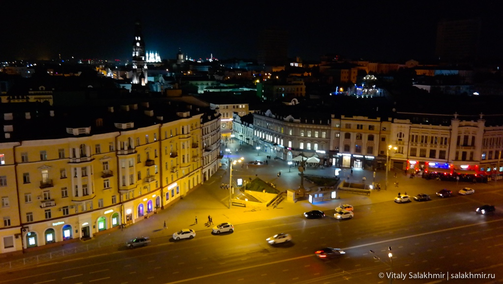 Панорама ночной Казани с 11 этажа, Казань 2020