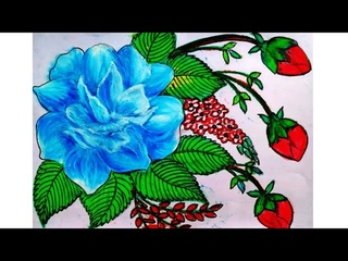 How to draw a rose flower and flower buds with oil pastel color easy step by step II flowers drawing