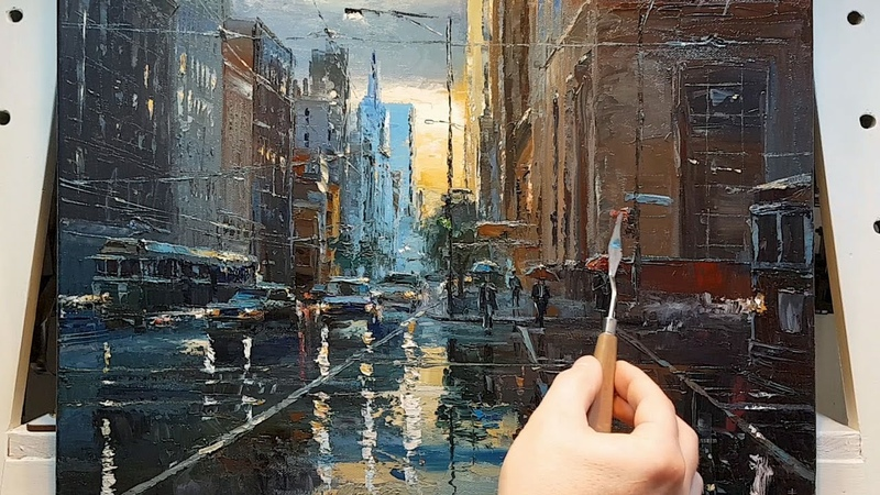 In the Rain City Palette Knife Brush Oil Painting Going Home Dusan