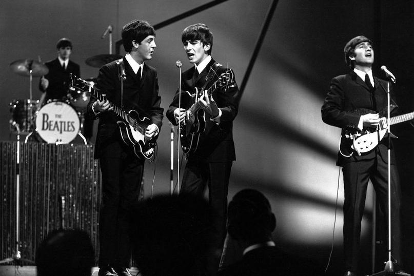 The Beatles - Ringo Starr, Paul McCartney, George Harrison, John Lennon The Beatles at the BBC Studios, London, Britain - 1963 REX Shutterstock