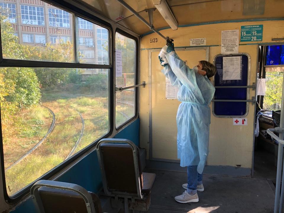 Отдел транспорта Администрации Таганрога: В Таганроге продолжается дезинфекция общественного транспорта