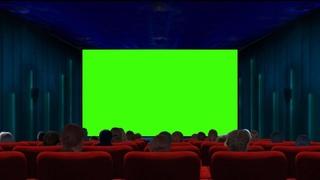 Кинозал на зеленом фоне в Full HD 1080р. Хромакей. Футаж кинотеатра на зеленом фоне. Green screen.