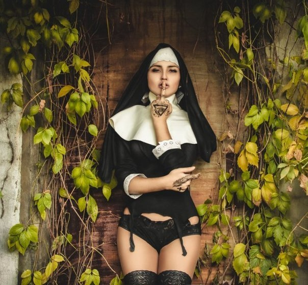 Sexy Nun Carnival Costume Ladies Monastery Church Black White