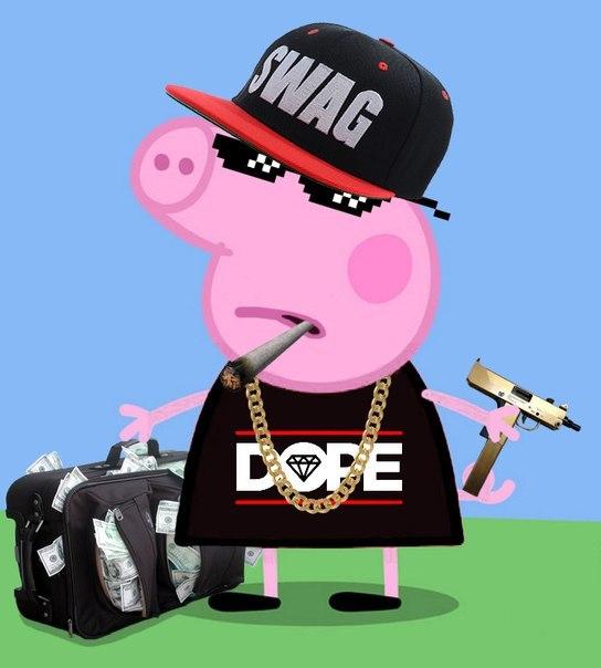 картинка свинка пеппа с автоматом стене