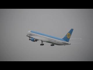 Взлёт Boeing 767-33P(ER) UK67003 Uzbekistan Airways из Домодедово,