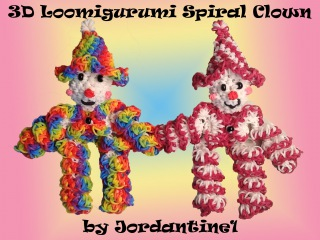 New 3D Loomigurumi / Amigurumi Spiral Clown - Rubber Band Crochet  Rainbow Loom - Hook Only
