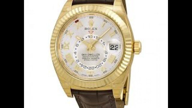 Rolex Sky Dweller Brown Dial GMT 18k Rose Gold Leather Mens Watch