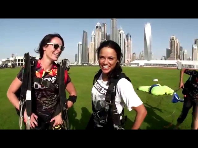 Fast and Furious star Michelle Rodriguez at Skydive Dubai