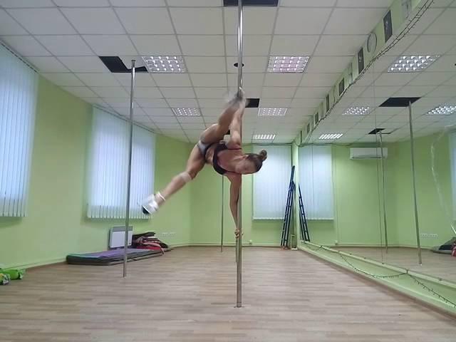 Palatova Ludmila, exotic spin combo on static pole 21.07.2016