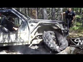 "Bush Cup Sam destroys his 37"" Irok tire but it still holds air!"