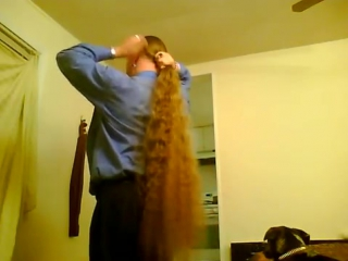 Taking my long hair out of a braid, brushing it and putting it in a pony tail