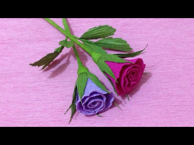 How to Make Small Rose Crepe Paper flowers Flower Making of Crepe Paper Paper Flower Tutorial