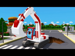 The Excavator Fixing The Road - NEW Video For Kids 3D Cartoon Cars & Trucks Stories