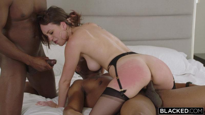 Jade Nile Threesome, Creampie, Handjob, Missionary, Doggystyle, Facial, Reverse Cowgirl, Lingerie, Big Tits,