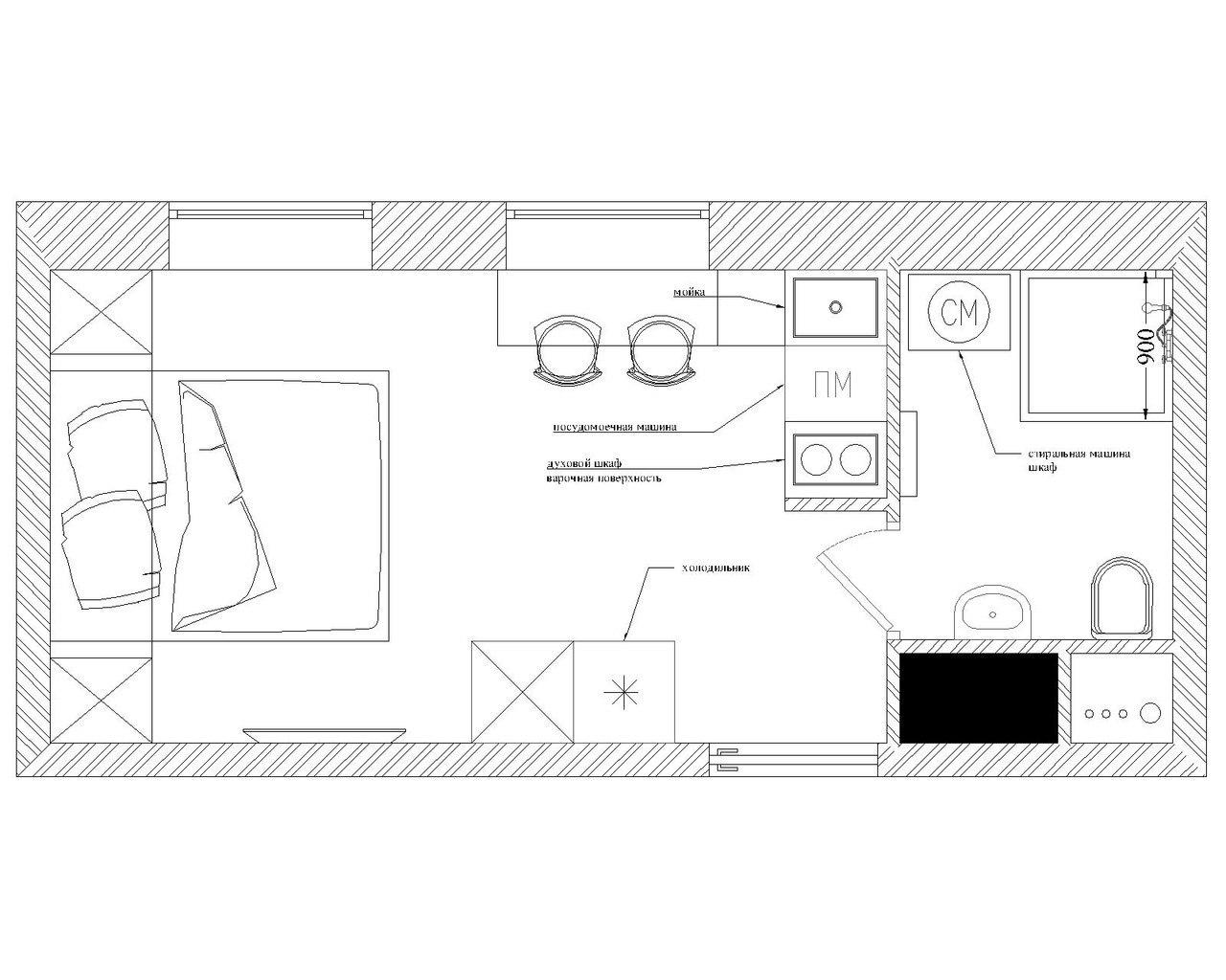 Проект студии 17 м.