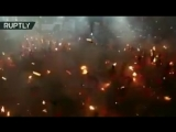 Agni Keli - Fire Fight During the Annual Festival at Kateel Durga Parameshwari Temple India