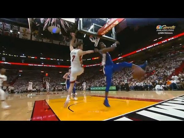 Joel Embiid Stares Down Goran Dragic After Block!