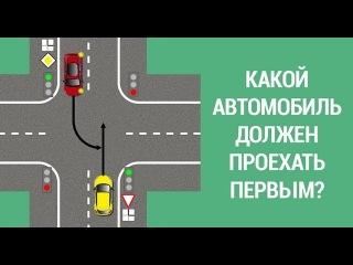 ✅Какой автомобиль имеет право проехать первым?