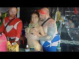 Young Thai girl in swimsuit and a big fat man in the bar on Soi 7, Pattaya
