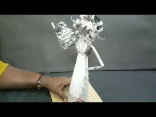 how to make newspaper curly hair african doll with pot - doll making - craft work - diy craft