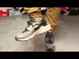 Nike Air Huarache Mine Grey - Poison Green On-feet Video at Exclucity