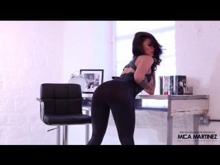 Mica Martinez in leather leggings BTS