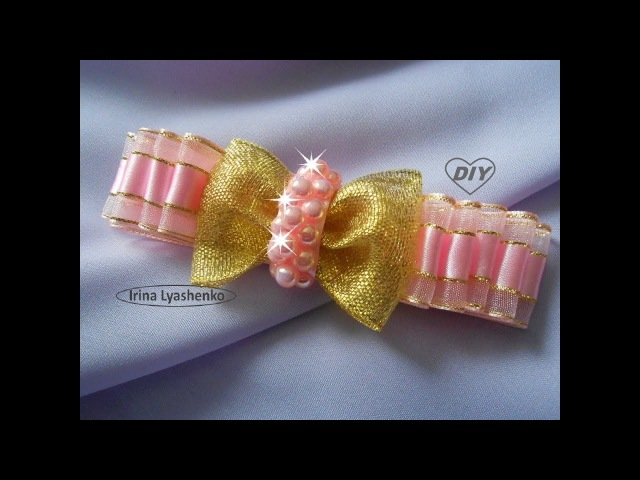 Бант на зажим МК/ DIY Ribbon bow/ PAP Laço de fitas Tutorial 121
