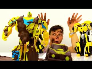 Шоколадный #БАМБЛБИ  Фёдор и #Трансформеры на Фабрике ШОКОЛАДА Игры #машинки для мальчиков