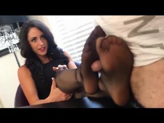 Office pantyhose footjob