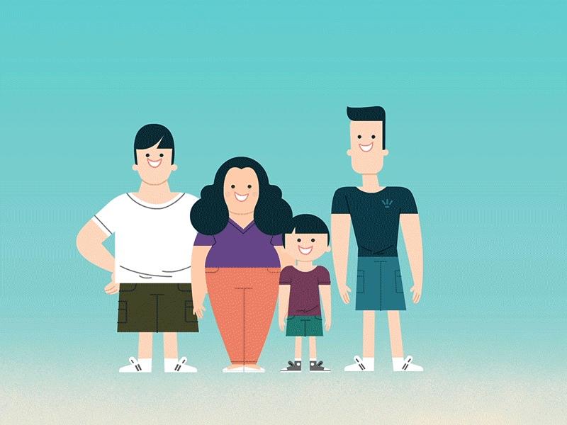 Днем рождения, анимации картинки семьи